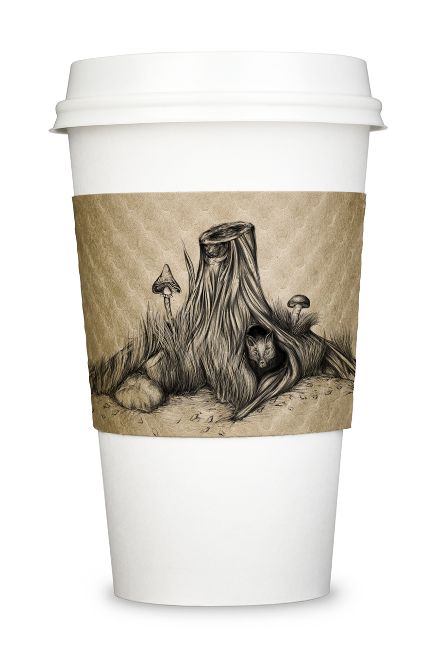 Straight on view of a paper coffee cup isolated with clipping path